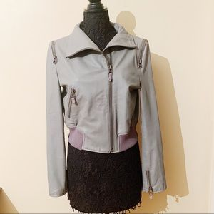 Bebe • Grey Real Leather Moto Jacket